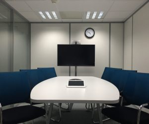 An Empty Conference Room To Represent The Teleconference.